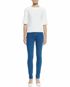 Japan Half-Sleeve Top & Super Skinny Denim Jeans by Victoria Beckham Denim at Neiman Marcus.