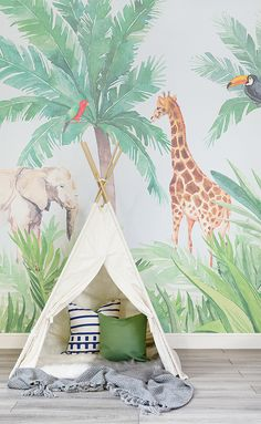 Introduce an engaging art piece into your child's nursery with our Watercolour Jungle Nursery Wall Mural. This wallpaper features a jungle theme that is suitable décor for either gender. Watch your child's eyes brighten with amazement as they enjoy the or Nursery Wallpaper, Wallpaper Decor, Animal Wallpaper, Tier Wallpaper, Wallpaper Jungle, Kindergarten Wallpaper, Animal Bedroom, Wall Murals Bedroom, Nursery Murals