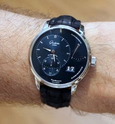 """Glashütte Original Panoreserve Watch Review - on aBlogtoWatch.com """"Back in February, we first brought you word of the new Pano models from Glashütte Original. As David noted in that article, he anticipated the blue-dialed versions to have the greatest impact... Recently, I had the opportunity to spend time with both versions of the Glashütte Original Panoreserve, and can tell you that, while they are both beautiful watches, the galvanic blue really does steal the show..."""""""