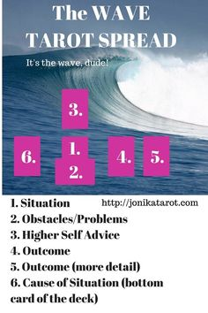 The Wave Tarot Spreads - use in any situation that needs clarification. Excellent for beginner  Tarot readers. Pin it! jonikatarot.com