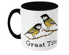 Great Tits Mug, Funny Coffee Mugs For Women, Christmas Gift For Wife Christmas Gifts For Wife, Gifts For Mum, Gifts For Women, Modern Cross Stitch, Cross Stitch Designs, Stitch Patterns, Funny Coffee Mugs, Funny Mugs, Sarcastic Memes