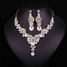 Fashion Sapphire Rhinestone Bridal Jewelry Set Wedding Prom Party Accessories Gold Plated Necklace Earring Set For Brides Women