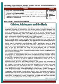 Children, adolescents and the media