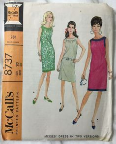 McCalls 8737 Sleeveless 1960s Dress Vintage Sewing Pattern Bust 40 by EmSewCrazy on Etsy
