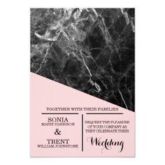 Black Marble Pink Modern Wedding Card - wedding invitations cards custom invitation card design marriage party