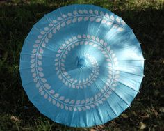 Aqua with Leaf Swirl Paper and Bamboo Parasol.  Red version also exists!