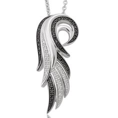 Angel Feather Wing White & Black Diamond Pendant Necklace in Sterling Silver  #Angel #Feather #Wing #White #Black #Diamond #Pendant #Necklace #Sterling #Silver