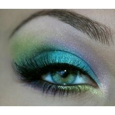 teal, lime, aqua and lilac mermaid eye make up #makeup #eyes #eyeshadow