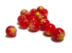 Millefiori Beads Bright Currant Red Rounds by WILDSTRAWBERRIESco, $3.15