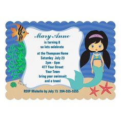 "Mermaid Pool Party 5"" X 7"" Birthday Invitation Card"