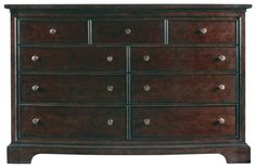"@MASTER BEDROOM Transitional Dresser Finish: Polished Sable #:042-13-05 Dimensions = 65.375""W x 21.3125""D x 43""H"