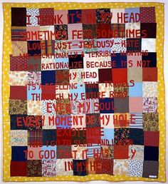 Tracey Emin - I Think it's in My Head appliqué blanket) Textiles, Tracey Emin, Artist Journal, Political Art, Feminist Art, Love And Lust, Textile Artists, Art Sketchbook, Installation Art