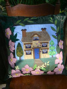 'Rose Cottage' Applique Cushion Applique Cushions, Bear Design, Rose Cottage, Cushion Pads, Brighten Your Day, Applique Designs, Different Fabrics, Plush, Texture
