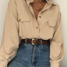 outfit looks ~ outfit looks . outfit looks ideas . outfit looks 2019 . outfit looks summer . outfit looks style Vintage Outfits, Retro Outfits, Trendy Outfits, Summer Outfits, Vintage Fashion, Vintage 90s Clothing, Plad Outfits, Collared Shirt Outfits, Vintage Denim