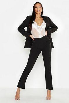 Womens Woven Seam Detail Suit Pants - black - S Business Dresses, Business Attire, Pop Fashion, Womens Fashion, Printed Palazzo Pants, Flattering Dresses, Office Looks, Suit Pants, Suits