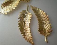 4 large brass fern leaf charms
