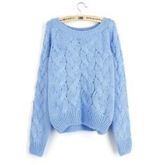 Korean Big Scoop Cable Pure Color Knit Sweater