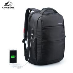 External Charging USB Function School Backpack Anti-theft  Women Travel Bag 15.6''