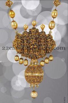 Jewellery Designs: Black Finish Krishna Temple Jewelry