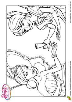 Dessin de quelques personnages dans Barbie et le secret des fées, à colorier