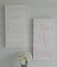 Nursery Signs set of (2) Shabby chic nursery decor, custom wood signs
