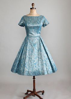 Vintage 1950s Florentine Blue and Gold Brocade Party Dress