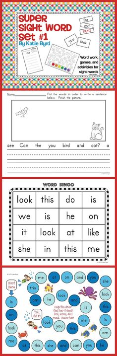 Sight Word Super Set #1 - A huge set of fun games and activities to build sight word fluency. Rainbow writing, word dabbing, sentence building, bingo games, board games, word graphs, and so much more. Perfect for a kindergarten sight word program.