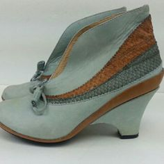 J Shoes J shoes Lulu suede leather tie front shoes in a duck egg blue with python insert in a darker blue. some. discoloring on heel and toe. J Brand Shoes Heeled Boots