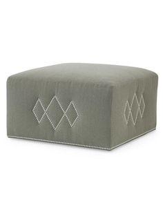 Century Furniture - argyle pattern detail  ottoman in Baker Astley stripe velvet