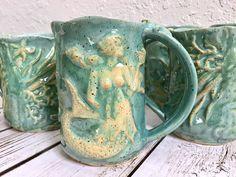 Ceramic Mermaid Coffee Cup  Mermaid  Mermaid by QueenBeePottery