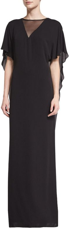 HALSTON HERITAGE ILLUSION-NECK CAFTAN-STYLE EVENING GOWN, BLACK. WAS $208 NOW $145.60 by Halston at Last Call by Neiman Marcus. CLICK IMAGE TO VIEW OR SHOP