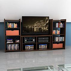 @Overstock - Keep your TV, related electronics, and much more in one convenient location with this durable 42-inch TV stand. Its mocha color is sure to match the decor in your living room or den, and it comes with a wall anchor for added security.http://www.overstock.com/Home-Garden/Mocha-Finish-42-inch-TV-Stand-with-Two-Audio-Stands/6751372/product.html?CID=214117 $273.99