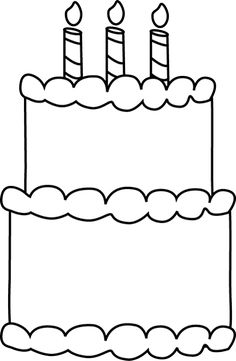 Birthday cake pattern Use the printable outline for crafts