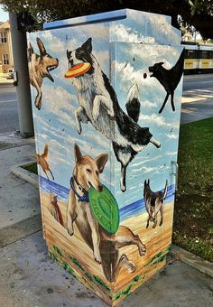 Gregory Navarro Pickens : painted utility box : dogs : long beach, ca New Orleans Music, Electric Box, Bullhead City, Street Art Love, Outdoor Signs, Painted Boxes, Covered Boxes, Western Australia, Public Art