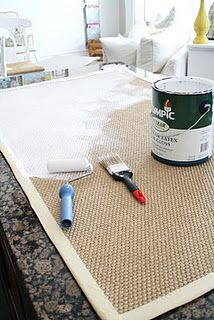 DIY: painted and stenciled rug. Great idea for cheap outdoor rugs!