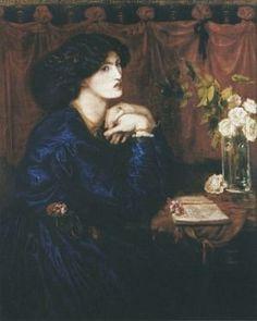 Mrs. William Morris (Blue Silk Dress Dante Gabriel Rossetti 1868 model Jane Burden Morris