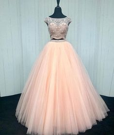 Prom Dress Princess, Pink two pieces sequin beads tulle long prom dress, pink evening dress Shop ball gown prom dresses and gowns and become a princess on prom night. prom ball gowns in every size, from juniors to plus size.