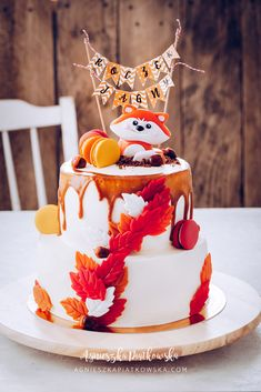 Birthday cake for a little girl :) Fox Cake, No Bake Desserts, Dessert Ideas, Little Girls, Birthday Cake, Snacks, Baking, Decoration, Blog