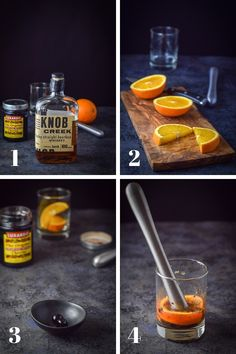 Collage of process shots for the old fashioned cocktail This classic Old Fashioned drink is so easy and delicious. It will make you feel like you're on the Mad Men set! Classic Old Fashioned Cocktail Recipe, Bourbon Old Fashioned, Old Fashioned Drink, Old Fashioned Recipes, Bourbon Drinks, Bourbon Cocktails, Cocktail Drinks, Cocktail Recipes, Party Drinks
