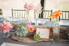 GRO Floral and Event Design   Birds of a Feather: Brittany & Justin   massive peonies   succulents   Trinity River Audubon Center   vintage glass bottles and driftwood   Photography by: Jules Photo Design