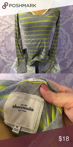 Abercrombie Striped Long Sleeve Tee In good shape!! Soft material, long cuffs🍀 Abercrombie & Fitch Tops Tees - Long Sleeve