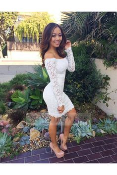 Long Sleeve Off the Shoulder Lace White Knee Length Tight Fitted Homecoming Cocktail Party Dress WNHD0767