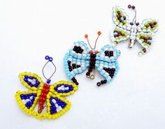 Vintage 1940s Hand Beaded Butterfly Pins Set of 3 20033