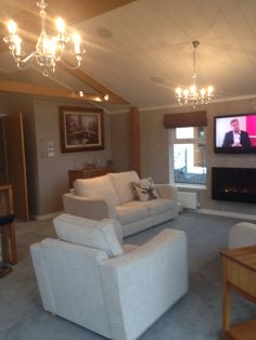 contact me Willow Park lochlibo rd burnhouse nr Beith North Ayrshire Scotland, living room wessex park home for sale Double French Doors, Park Homes, Large Windows, Beautiful Lights, Dining Area, Bungalow, Scotland, Lounge, Couch