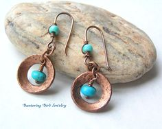 Natural Turquoise in Hammered Copper Earrings