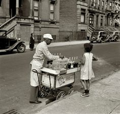 Vintage ice cream cart in New York image.  Summer, by Jack Allison, 1938