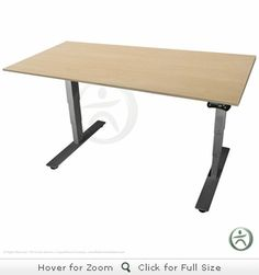 Uplift desk, $799 base price, +120 for beech color. Cross bar directly underneath tabletop (for bike space!)