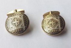 Vintage DAMASCENE CUFFLINKS Gold, Black and Silver Design Toledo  FREE P&P
