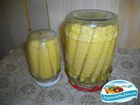 Маринованная вкусная кукуруза на зиму  -кукуруза  для маринада: 9%-ый уксус - 1 л вода - 1 л лавровый лист - 3г соль - 15-20г.  Приготовление: Очень молодые, незрелые початки очищают от зеленых оболочек и нитей и сортируют по размеру. Початки должны быть с мелкими зернами (диаметром не более 2 - 3 мм), а кочерыжки - легко разрезаются ножом.  Початки сортируют: длиной 7 - 8 см для консервирования в пол-литровых банках и 10 - 11 см - в литровых.  Промытые початки отваривают в течение 10 - 15…