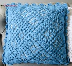 "The location where building and construction meets style, beaded crochet is the act of using beads to decorate crocheted products. ""Crochet"" is derived fro Crochet Pillow Cases, Crochet Pillow Pattern, Crochet Cushions, Crochet Afghans, Crochet Squares, Pillow Patterns, Granny Squares, Crochet Home, Bead Crochet"